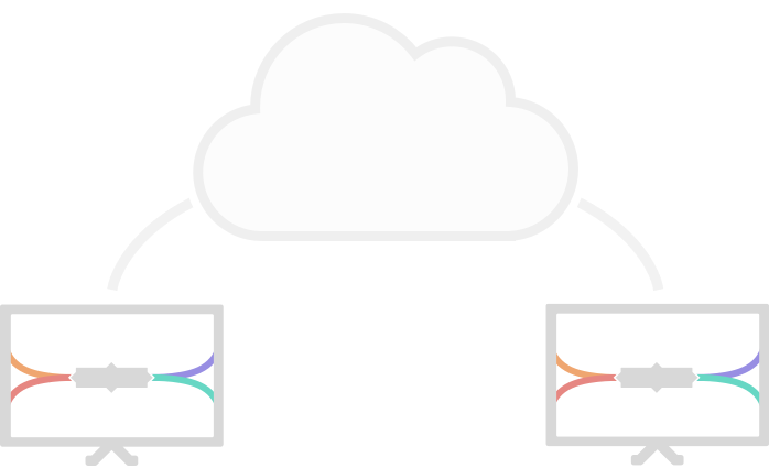 two computers linked by a cloud